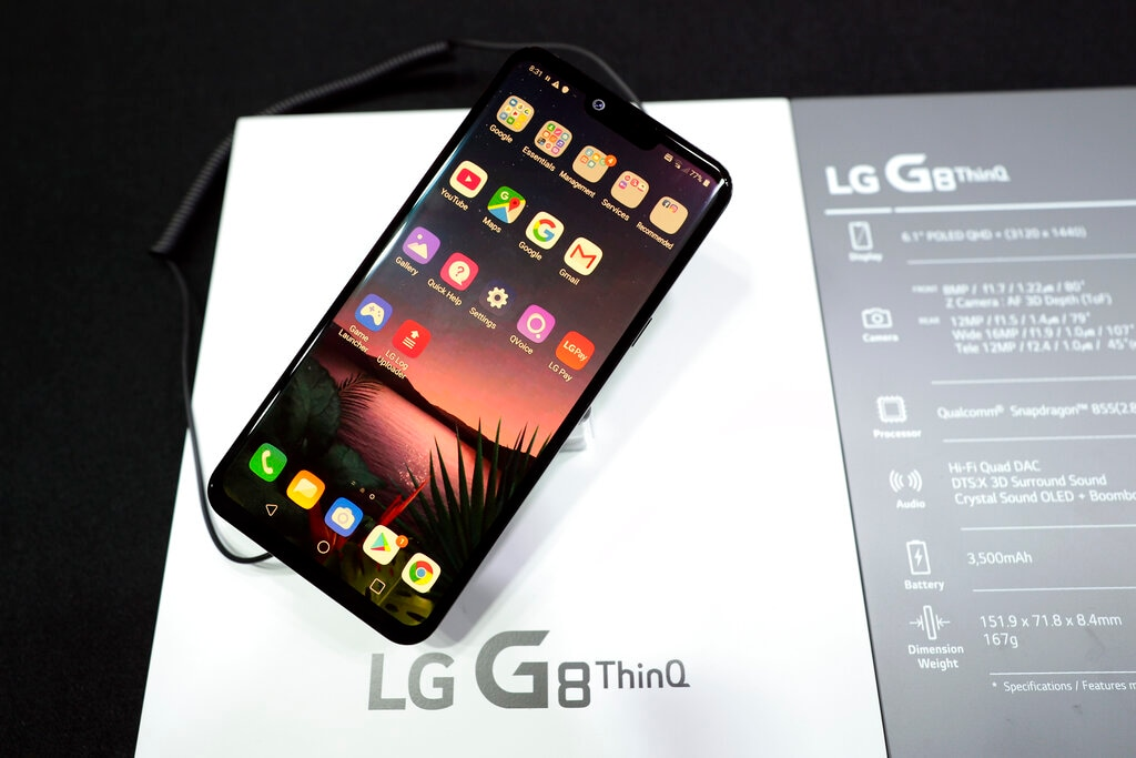 The new LG G8 ThinQ smartphone with