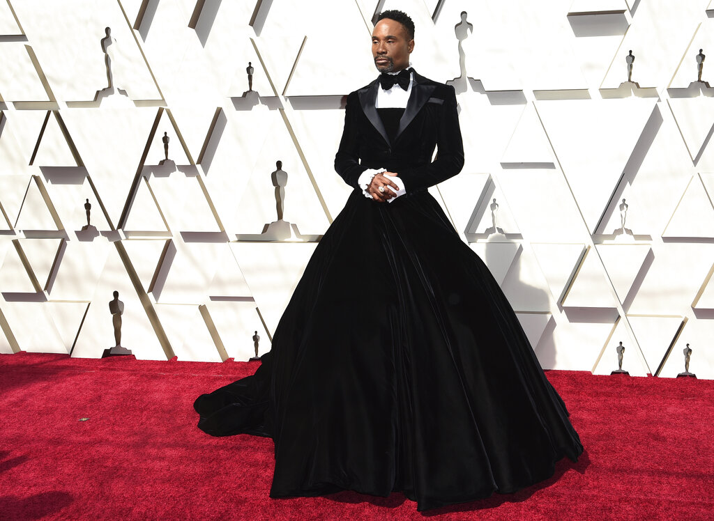 Billy Porter arrives at the Oscars on Sunday, February 24, 2019, at the Dolby Theatre in Los Angeles. (Photo by Richard Shotwell/Invision/AP)