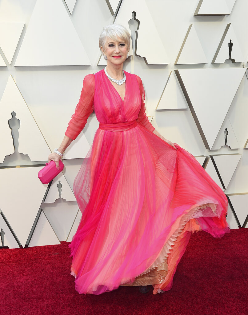 Helen Mirren arrives at the Oscars on Sunday, February 24, 2019, at the Dolby Theatre in Los Angeles. (Photo by Jordan Strauss/Invision/AP)