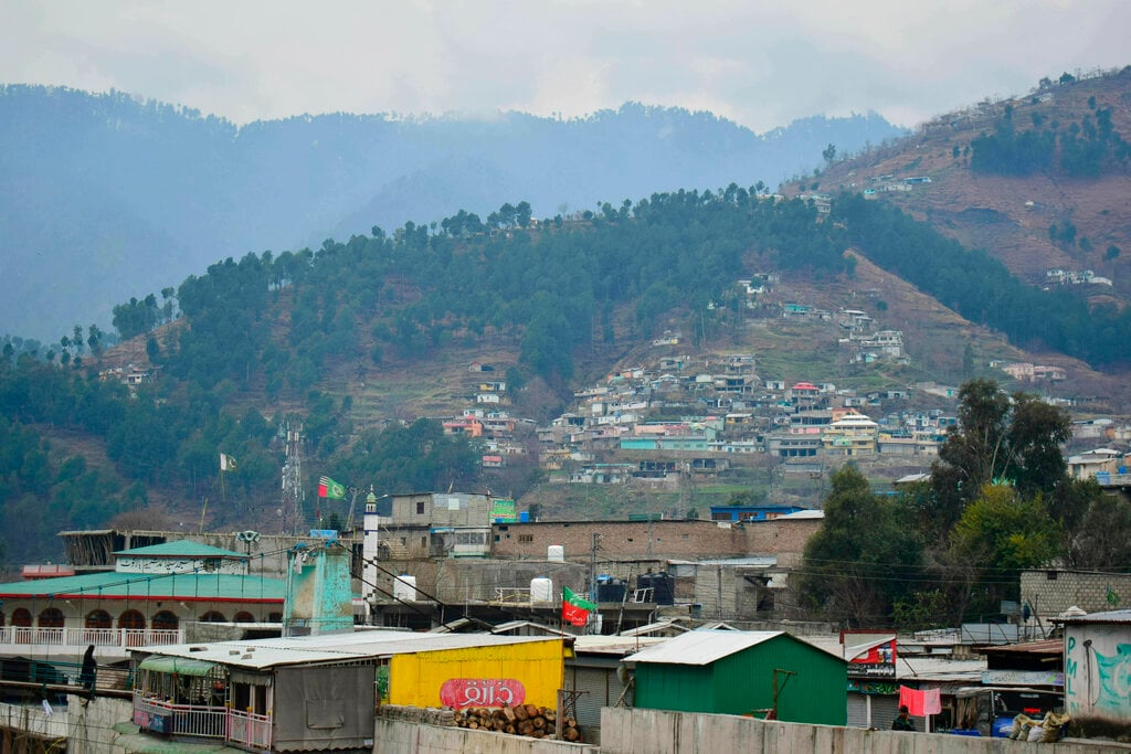 A view of Pakistani village Balakot, Pakistan, Tuesday, Feb. 26, 2019. India launched an airstrike on this Pakistani territory early Tuesday that New Delhi called a pre-emptive strike against militant camps in Pakistan.  (AP Photo/Aqeel Ahmed)