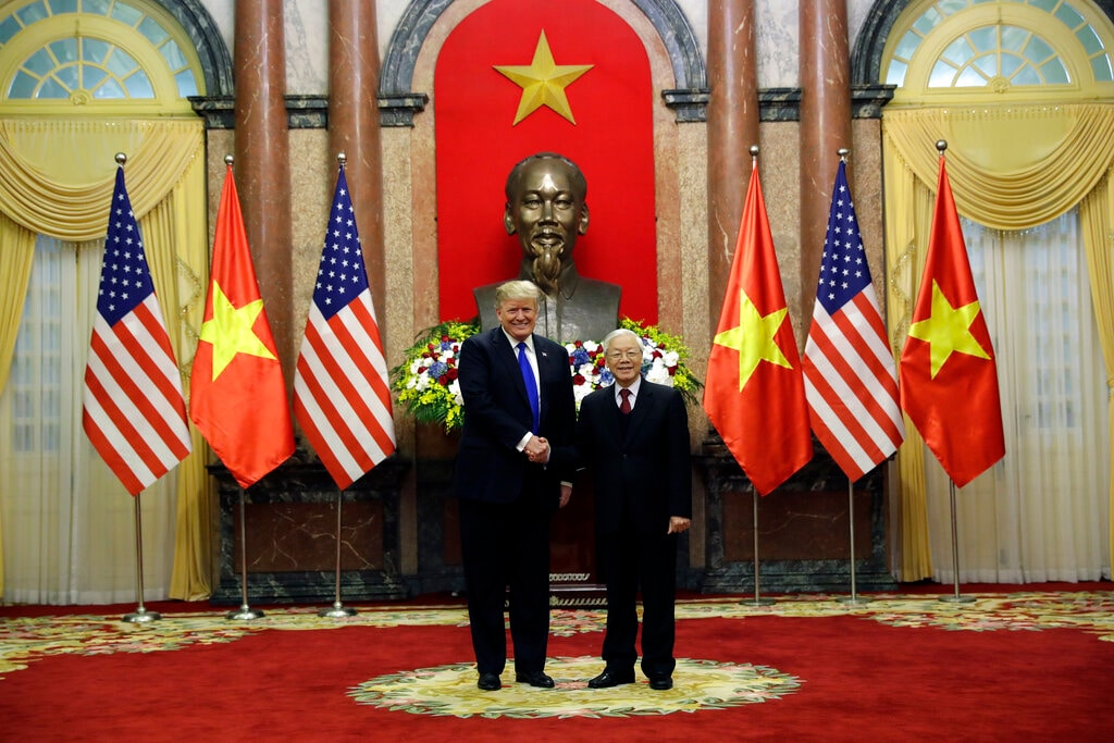 President Donald Trump meets Vietnamese President Nguyen Phu Trong at the Presidential Palace, Wednesday, Feb. 27, 2019, in Hanoi.