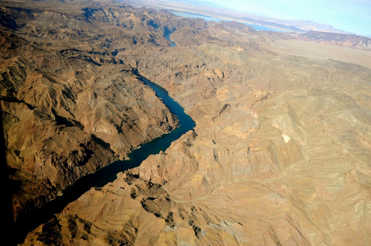 A view of Colorado River from the chopper that cuts through the Grand Canyon.