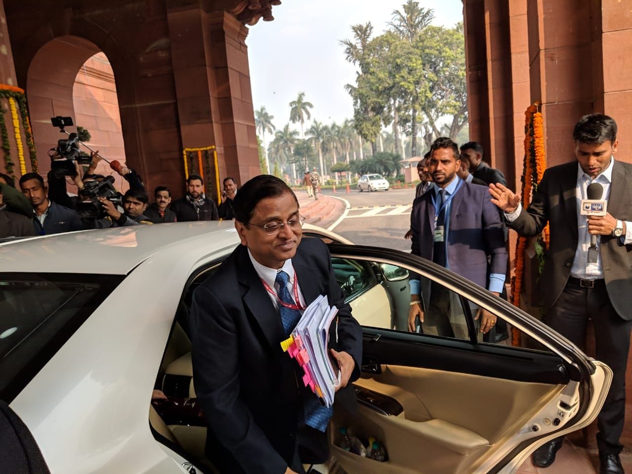 Economic affairs secretary Subhash Chandra Garg arrive at the Parliament. Friday, February 1, 2019.