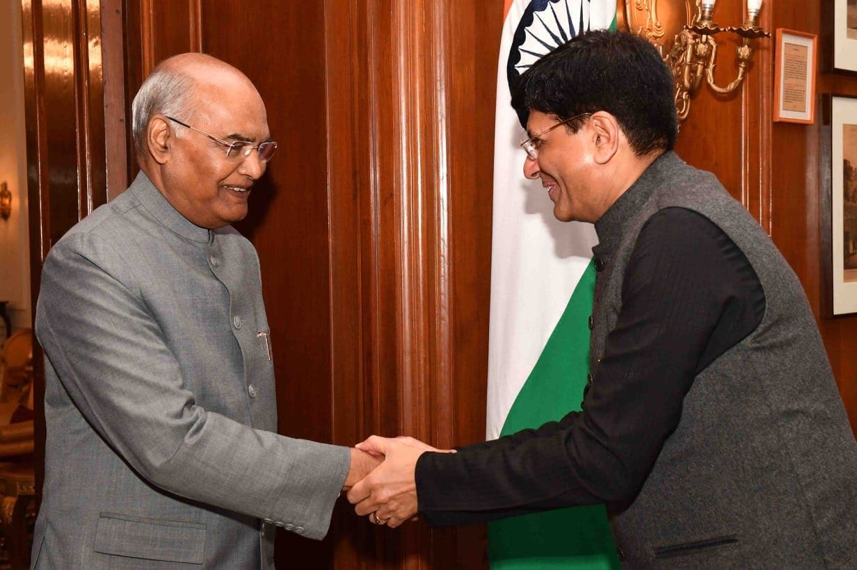 Finance minister Piyush Goyal calls on President Ram Nath Kovind at Rashtrapati Bhavan before presenting the Union Budget. February 1, 2019.