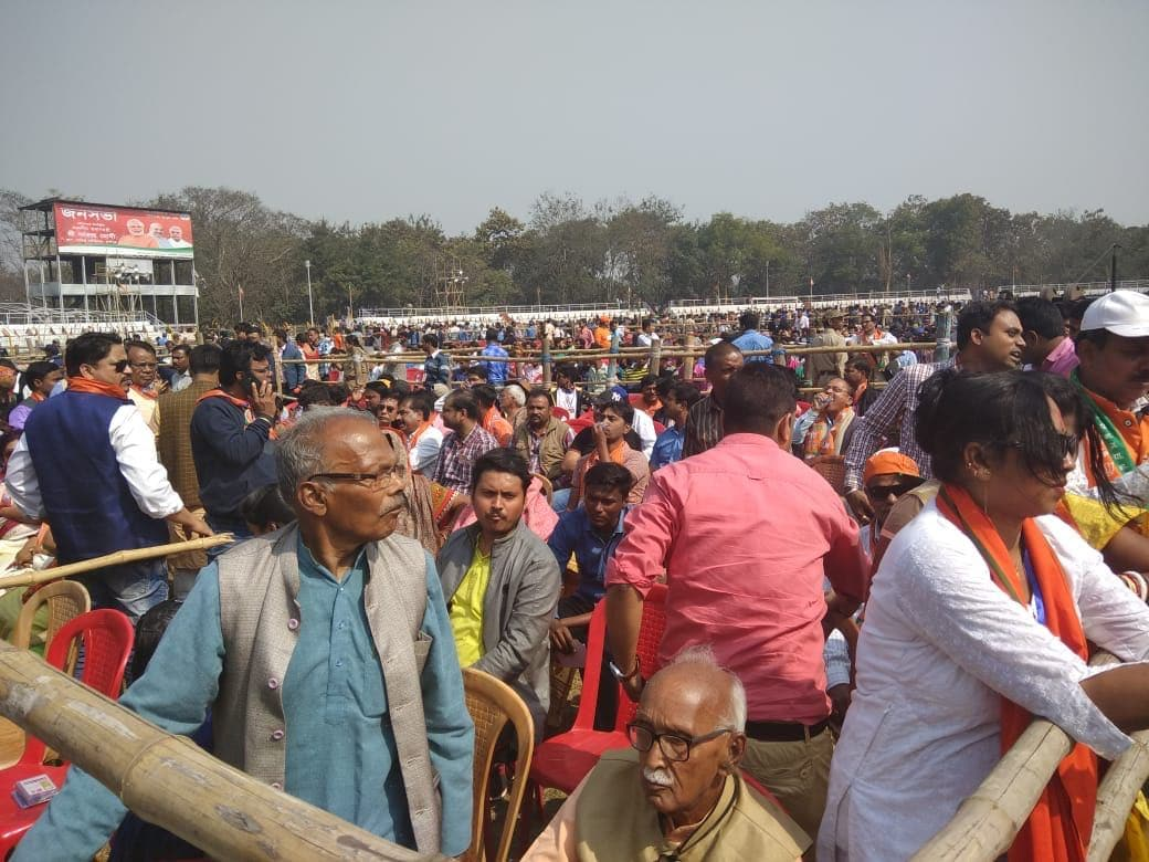 Thousands of people are seen here attending the rally. Modi had accused during his address that Mamata Banerjee was orchestrating violence against BJP workers  <br />due to people's love for the party.