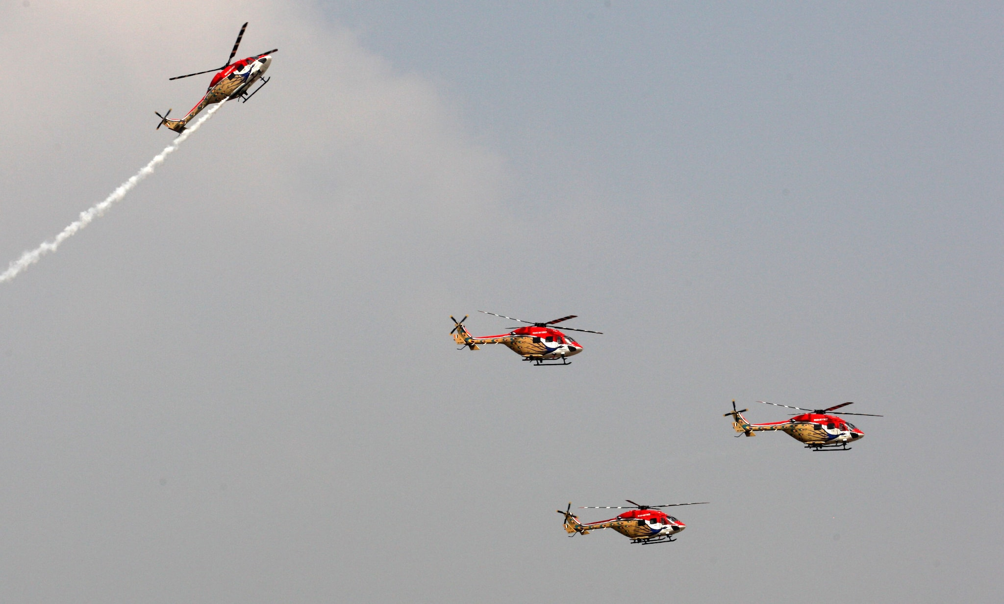Indian Air Force Suryakiran aerobatic team performs aerobatic maneuvers ahead of Aero India 2019 at Yelahanka air base in Bengaluru.