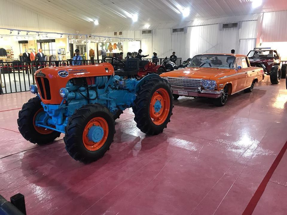 A Lamborghini tractor and a crazy Sandrail beach buggy, with a Chevrolet-sourced V8 were put on display at the event.