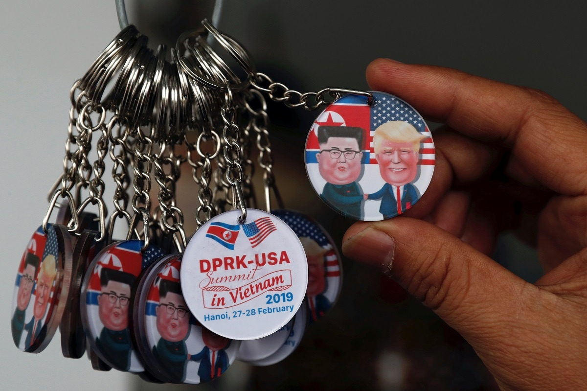Key rings depicting North Korea's leader Kim Jong Un and US President Donald Trump is seen for sale ahead of their summit in Hanoi. (REUTERS/Jorge Silva)