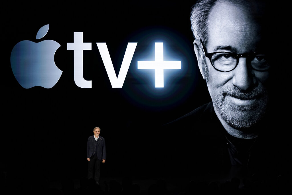 Director Steven Spielberg speaks at the Steve Jobs Theater during an event to announce new Apple products Monday, March 25, 2019, in Cupertino, California. (AP Photo/Tony Avelar)