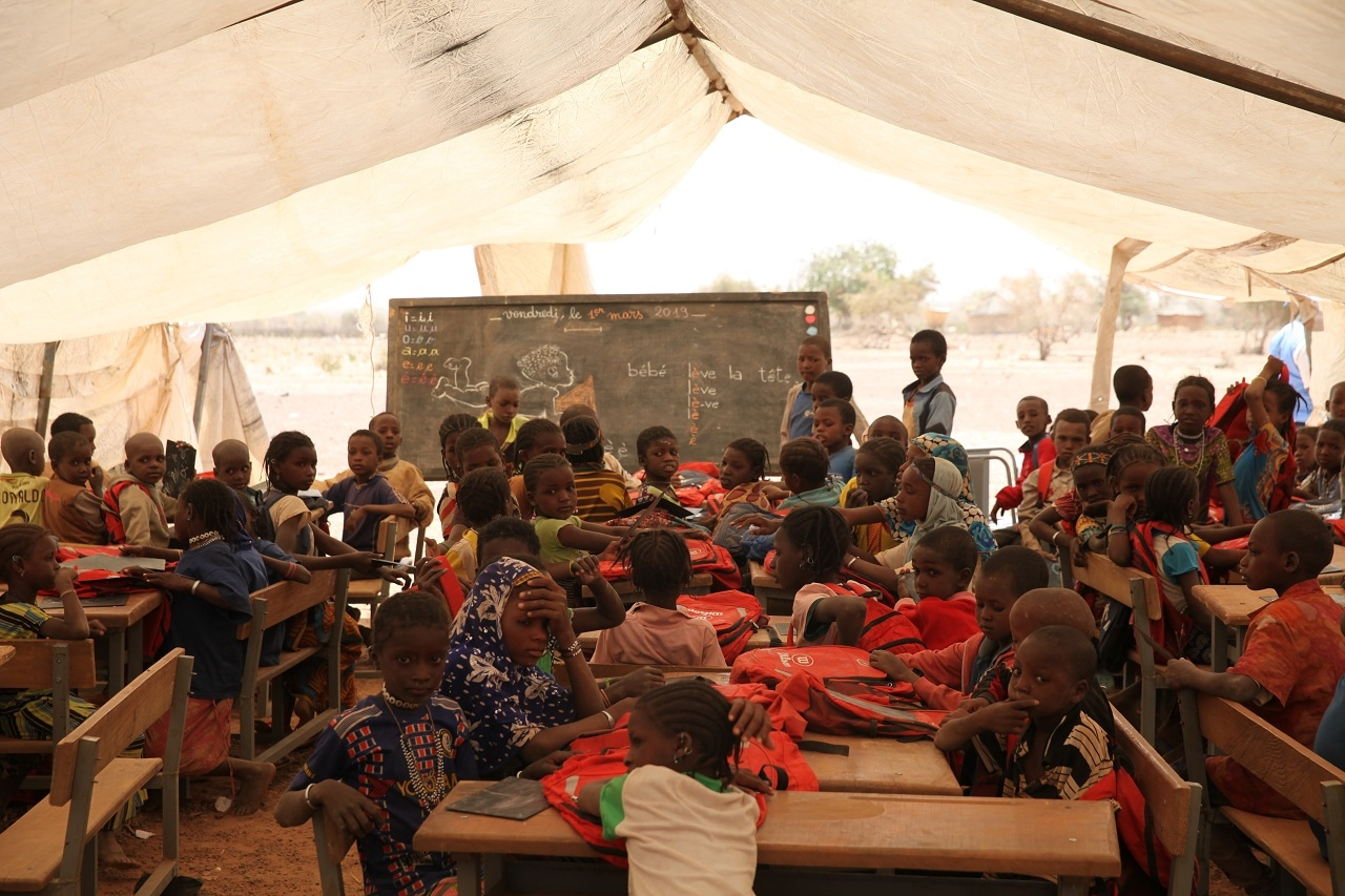 Children attend school at a camp for internally displaced persons in Barsalogho, Burkina Faso, March 1, 2019. (Reuters)