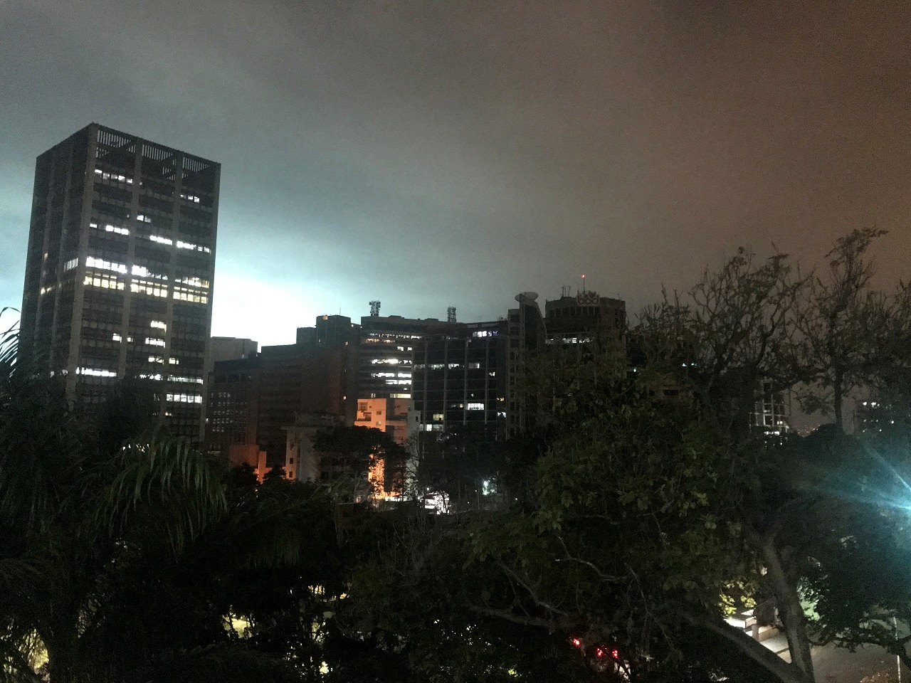 The sky is illuminated during the night in Caracas, Venezuela March 11, 2019. (Reuters)