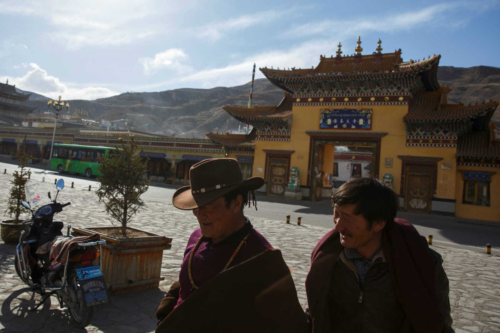 Tibetan men leave Rongwo Monastery in the largely ethnic Tibetan town of Rebkong, Qinghai province, China March 9, 2019. REUTERS/Thomas Peter