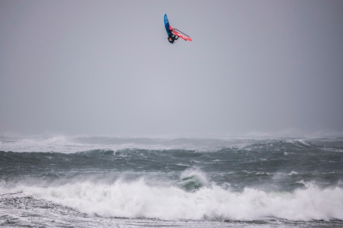 Australian windsurfer Jaeger Stone has won Red Bull Storm Chase after 131kph wind gusts and eight-metre waves battered the Irish Coast.  In this picture, he is seen performing at Red Bull Storm Chase windsurfing competition in Magheroarty, Ireland on March 12, 2019. ( Sebastian Marko / Red Bull Content Pool)