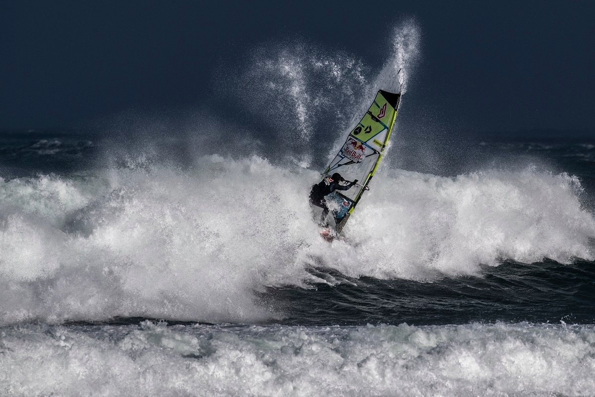 Eight world-class windsurfers travelled to Magheroarty Beach in County Donegal to take on the full force of a massive North Atlantic storm. (Joerg Mitter / Red Bull Content Pool)