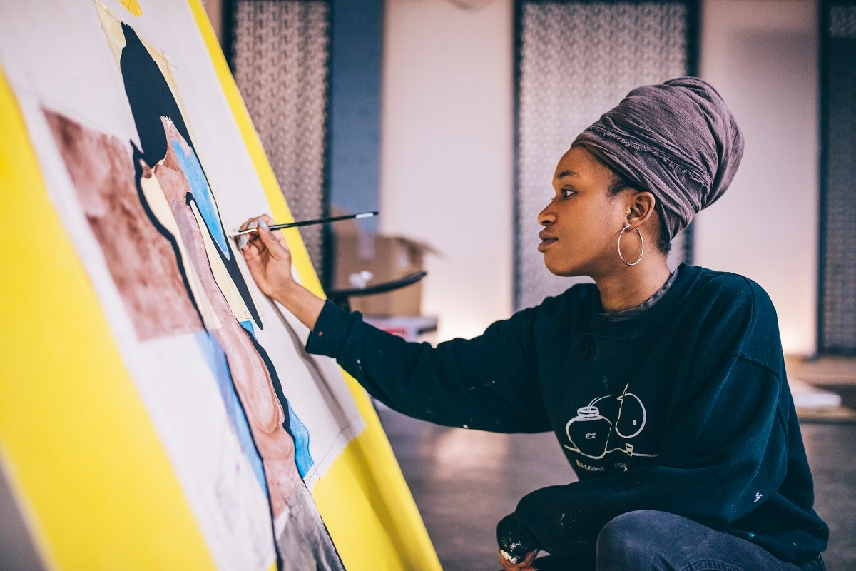 Artist Tschablala Self progresses at Red Bull House Of Art, Residency 4 in Detroit, Michigan, USA. (Joe Gall / Red Bull Content Pool)