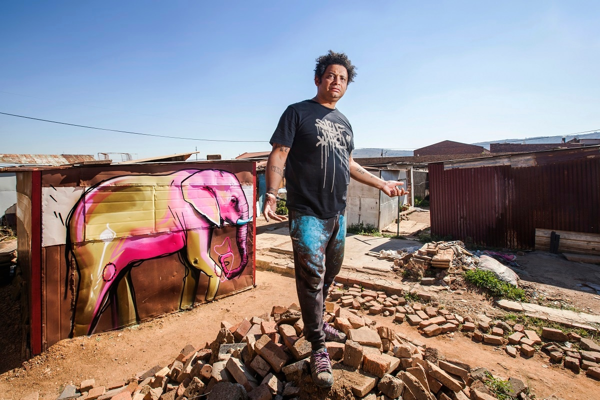 Graffiti artist Falko One poses for a portrait during Red Bull Amaphiko Academy in Mamelodi, Pretoria East, South Africa. (Luke Daniel / Red Bull Content Pool)