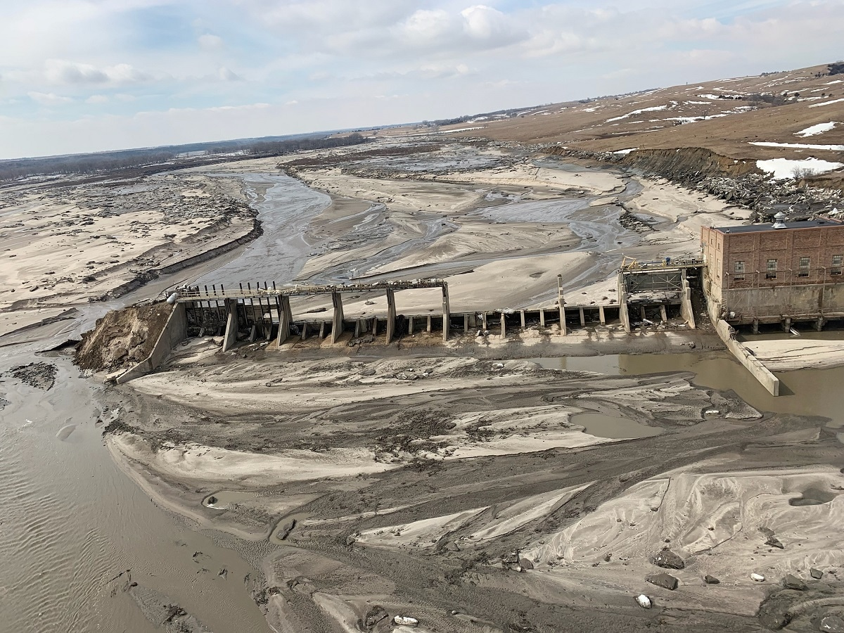Another aerial view of Spencer Dam after a storm triggered historic flooding. (Office of Governor Pete Ricketts/Handout via REUTERS)