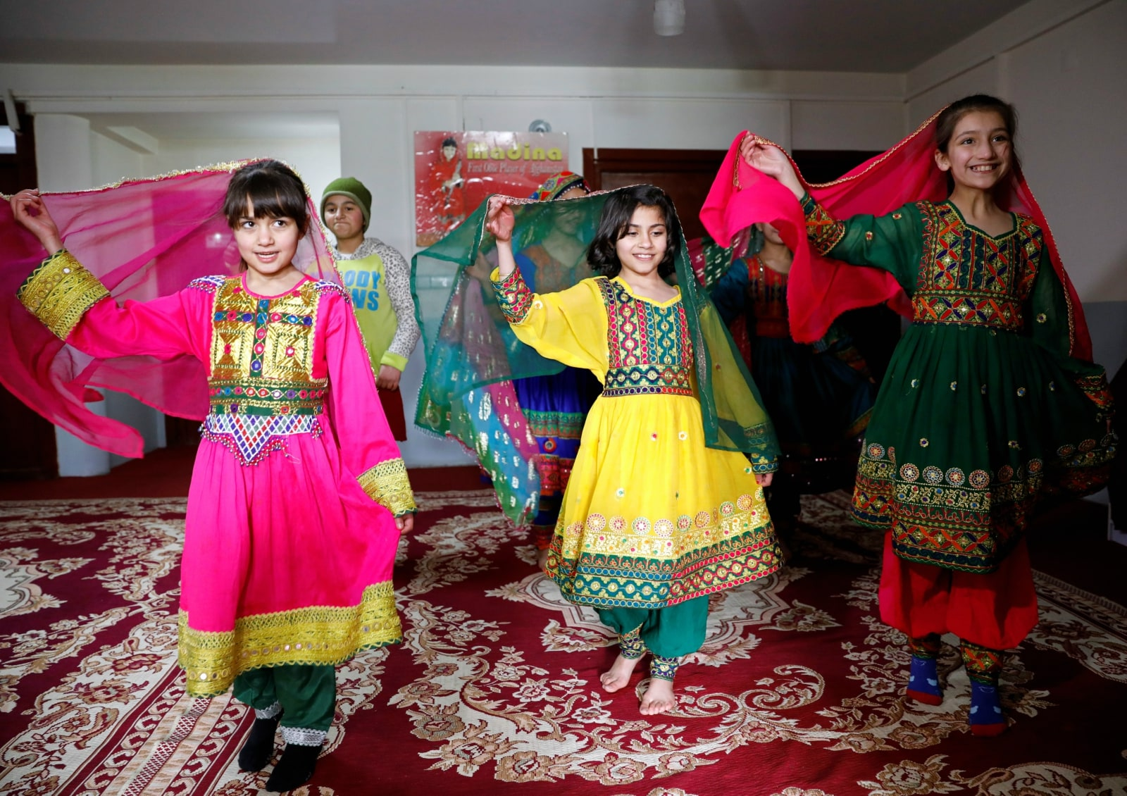 Afghan girls practice a traditional dance at an Afghan Child Education and Care Organization center (AFCECO) in Kabul, Afghanistan March 3, 2019. REUTERS/Mohammad Ismail