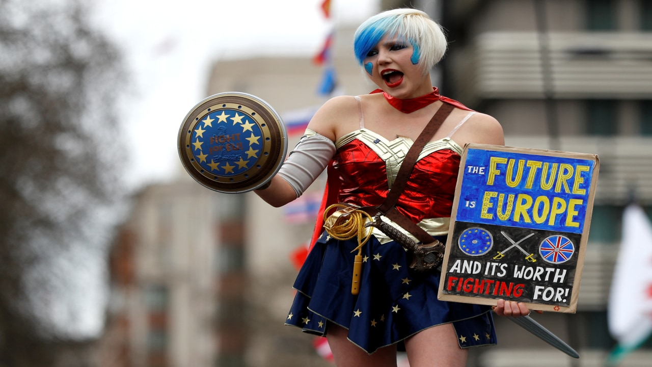 An EU supporter dressed in costume, calling on the government to give Britons a vote on the final Brexit deal, participates in the 'People's Vote' march in central London, Britain on March 23, 2019. Reuters/Peter Nicholls