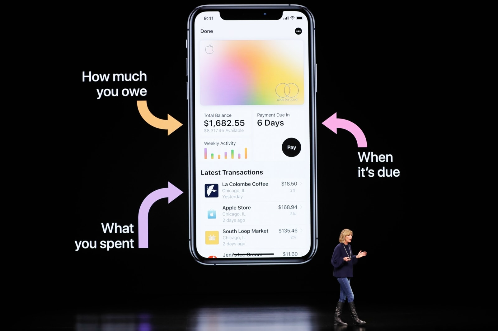 Jennifer Bailey, VP Apple Pay at Apple, speaks during an Apple special event at the Steve Jobs Theater in Cupertino, California, US, March 25, 2019. REUTERS/Stephen Lam