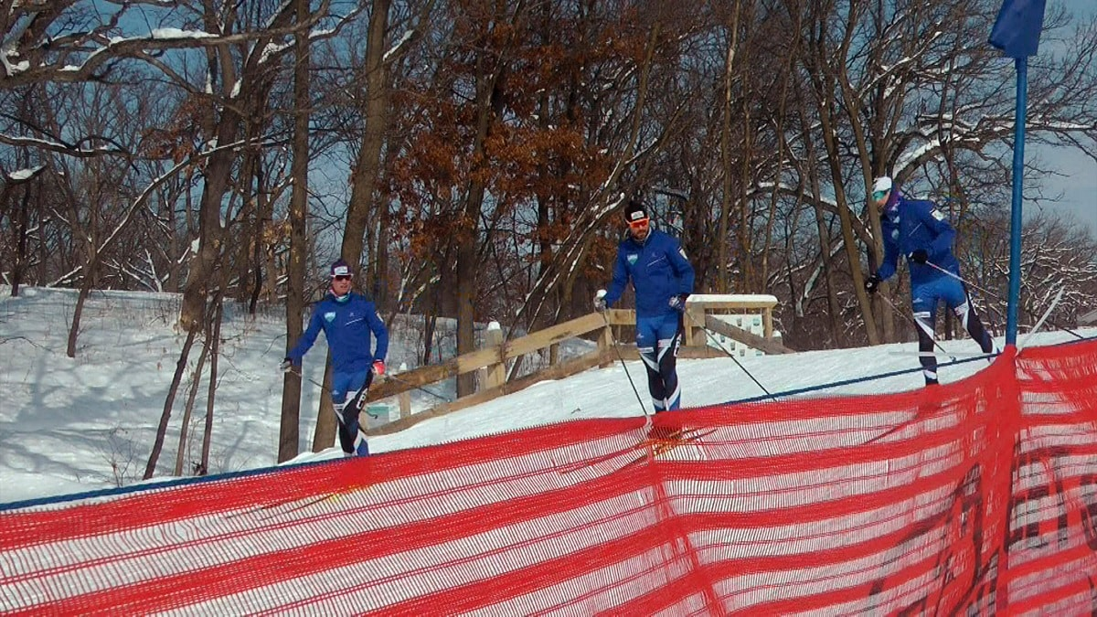 Cross-country skiers practice at Theodore Wirth Regional Park in Golden Valley, Minnesota. (AP Photo/Jeff Baenen)