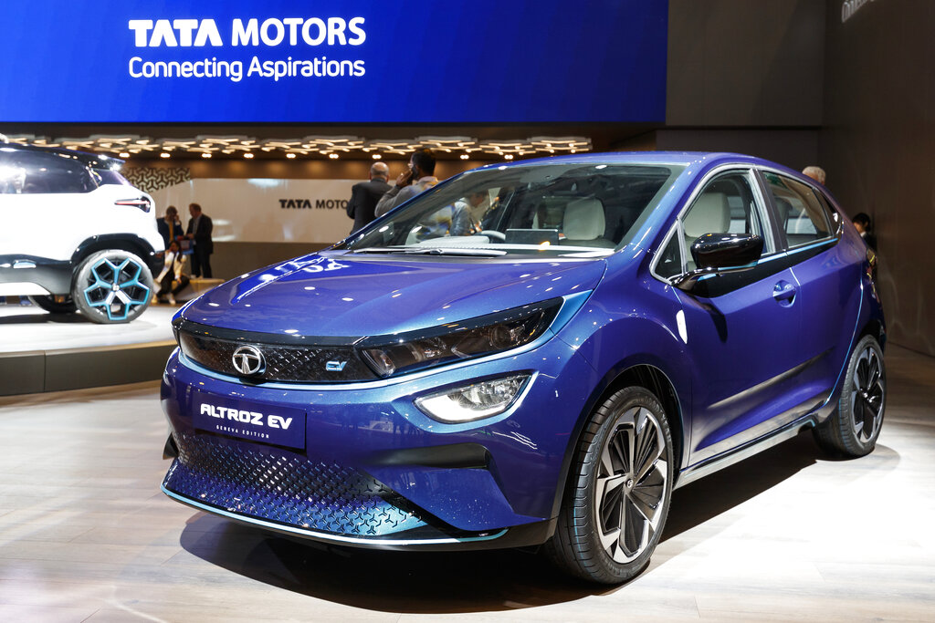 The new Tata Motors 'Altroz EV' is presented during the press day at the '89th Geneva International Motor Show' in Geneva, Switzerland, Tuesday, March 05, 2019. (Cyril Zingaro/Keystone via AP)