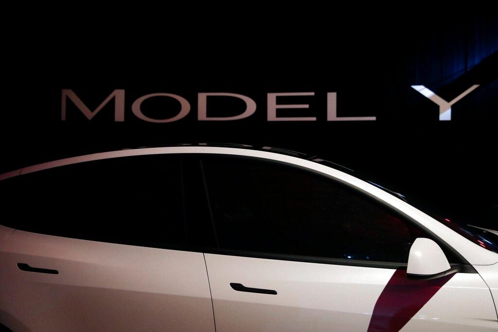 Tesla's Model Y is displayed at Tesla's design studio Thursday, March 14, 2019, in Hawthorne, Calif. (AP Photo/Jae C. Hong)