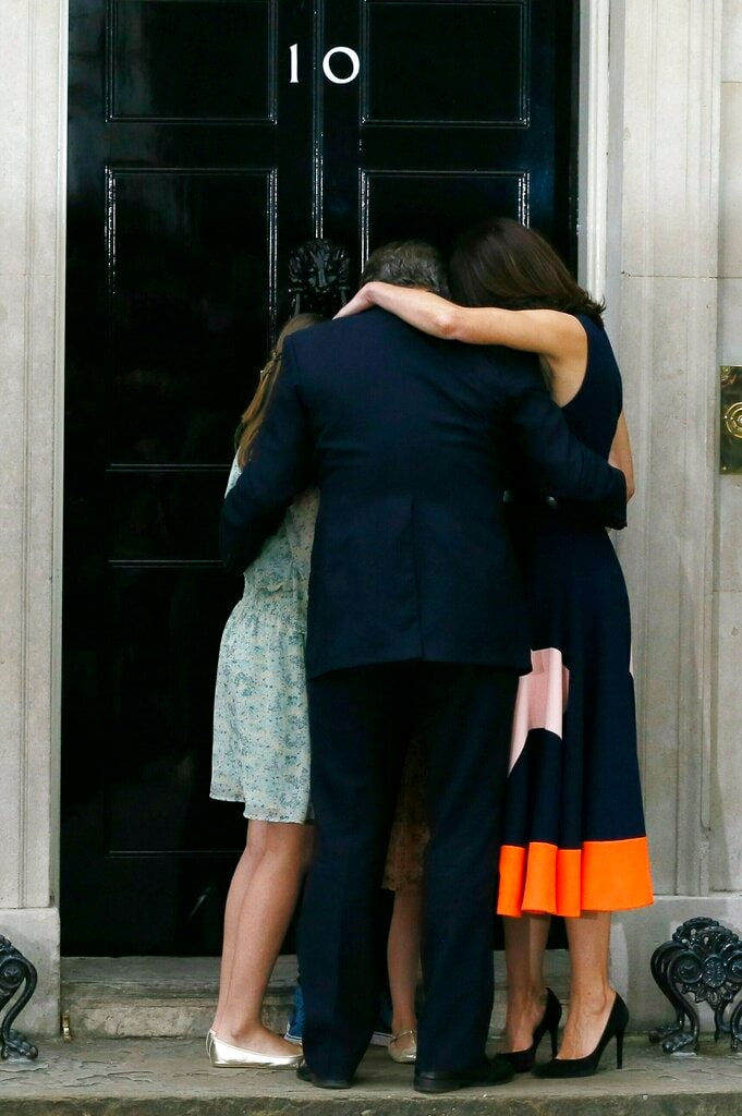 In this Wednesday, July 13, 2016 file photo, Britain's Prime Minister David Cameron, his wife Samantha and their children Nancy, Elwen and Florence, hug on the steps of 10 Downing Street in London. Cameron stepped down after six years as prime minister. (AP)