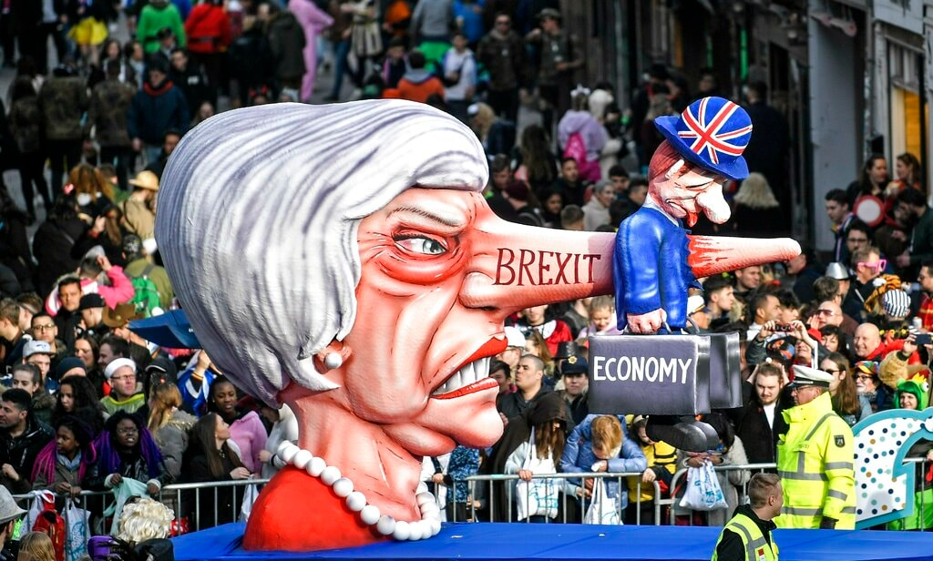In this Monday, March 4, 2019 file photo a carnival float depicts British Prime Minister Theresa May and the Brexit during the traditional carnival parade in Duesseldorf, Germany. (AP)