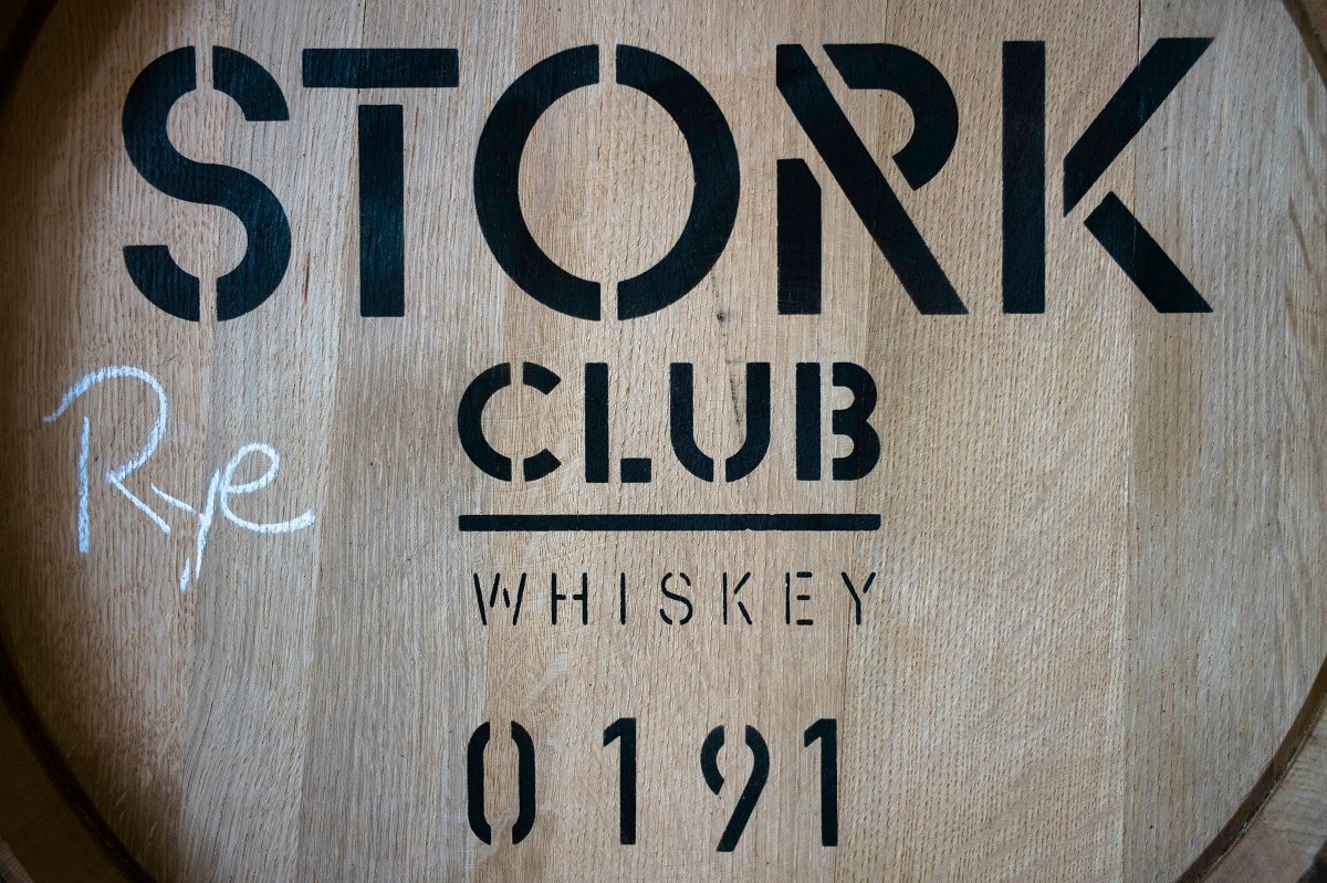 A barrel of Stork Club whiskey storages at the German whiskey maker Spreewood Distillery in Schlepzig, Germany. (AP Photo/Markus Schreiber)
