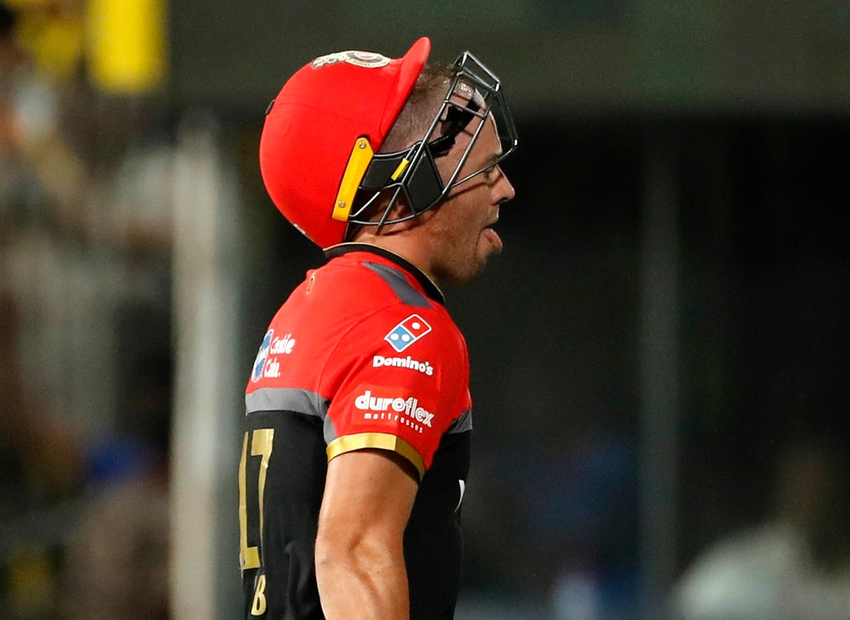 Royal Challengers Bangalore's AB de Villiers reacts as he leaves the field after being dismissed. (AP Photo/Aijaz Rahi)