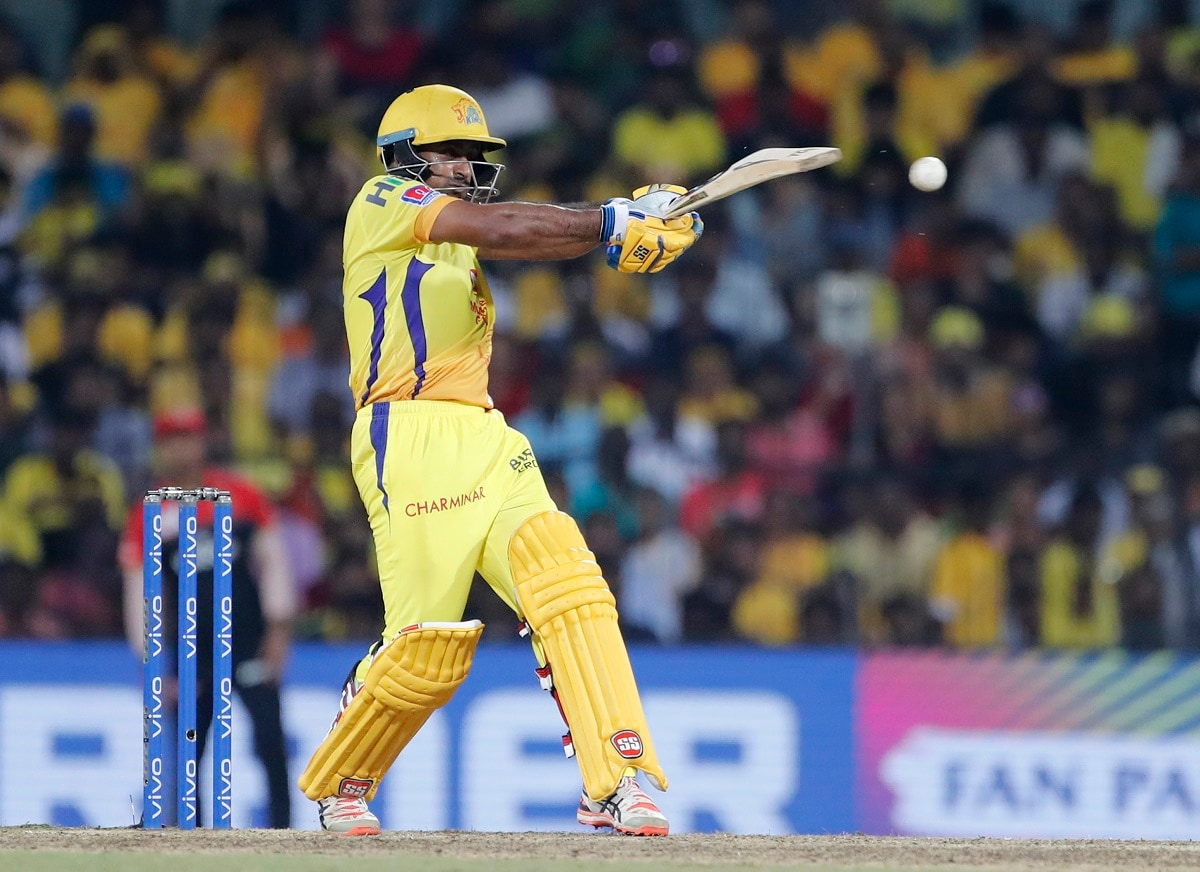 Chennai Super Kings' Ambati Rayadu plays a shot during the VIVO IPL T20 cricket match between Chennai Super Kings and Royal Challengers Bangalore. (AP Photo/Aijaz Rahi)