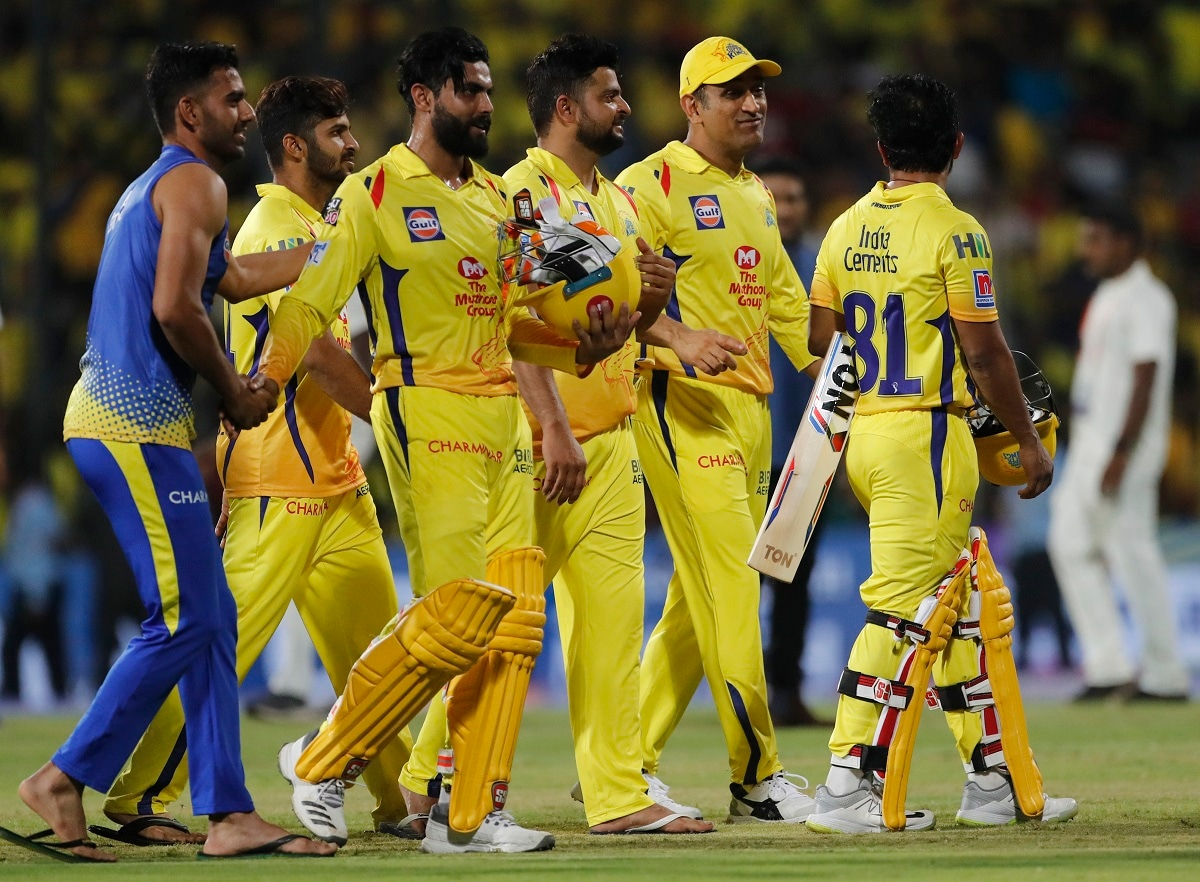 Chennai Super Kings players leave the ground after their win in the VIVO IPL T20 cricket match. (AP Photo/Aijaz Rahi)