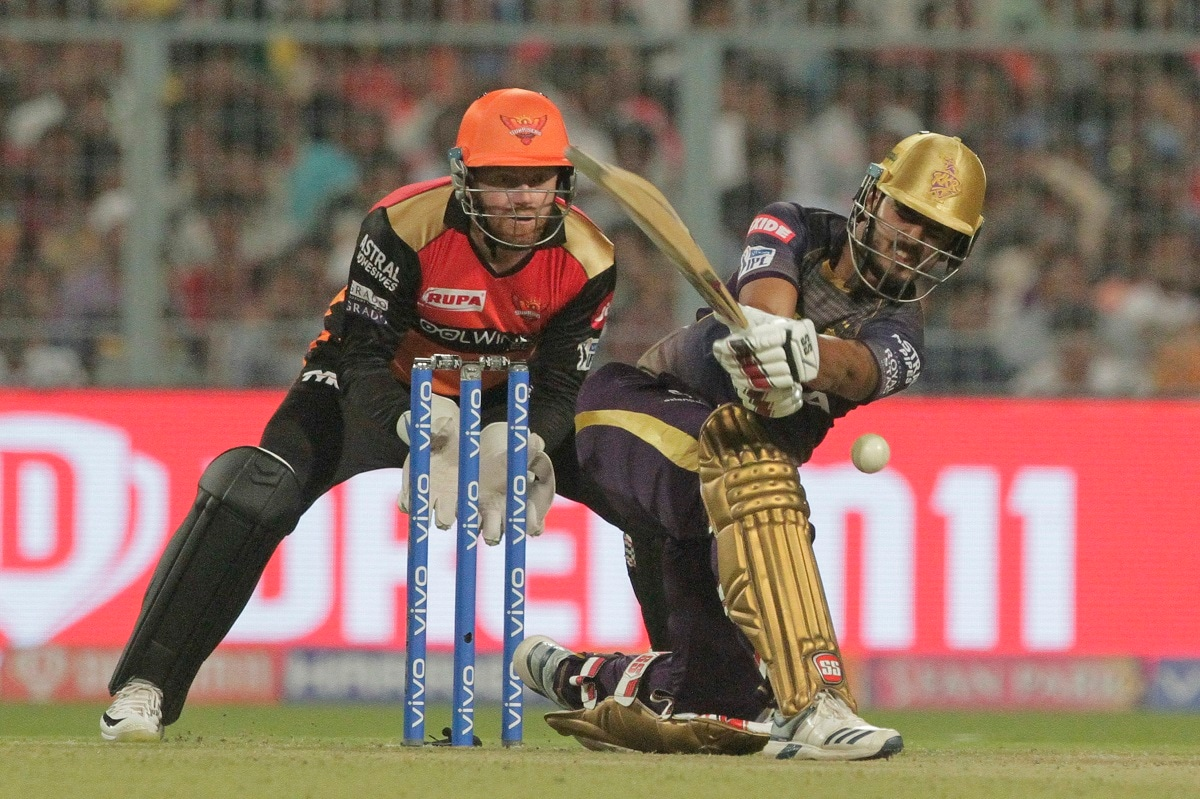 Kolkata Knight Riders' Nitish Rana bats against Sunrisers Hyderabad. (AP Photo/Bikas Das)