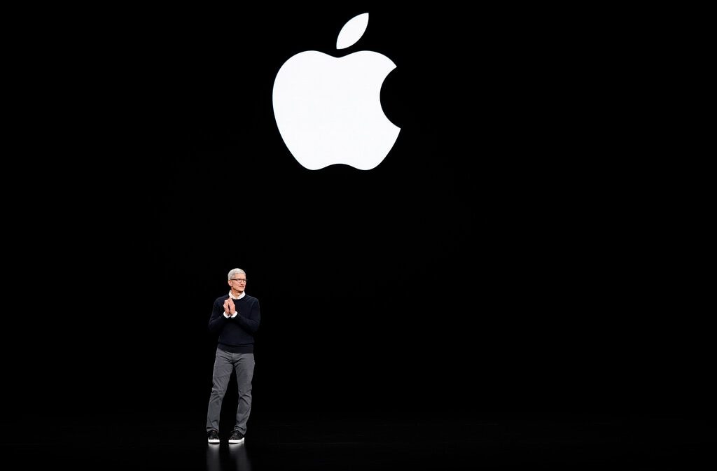 Apple CEO Tim Cook speaks at the Steve Jobs Theater during an event to announce new products Monday, March 25, 2019, in Cupertino, California. (AP Photo/Tony Avelar)