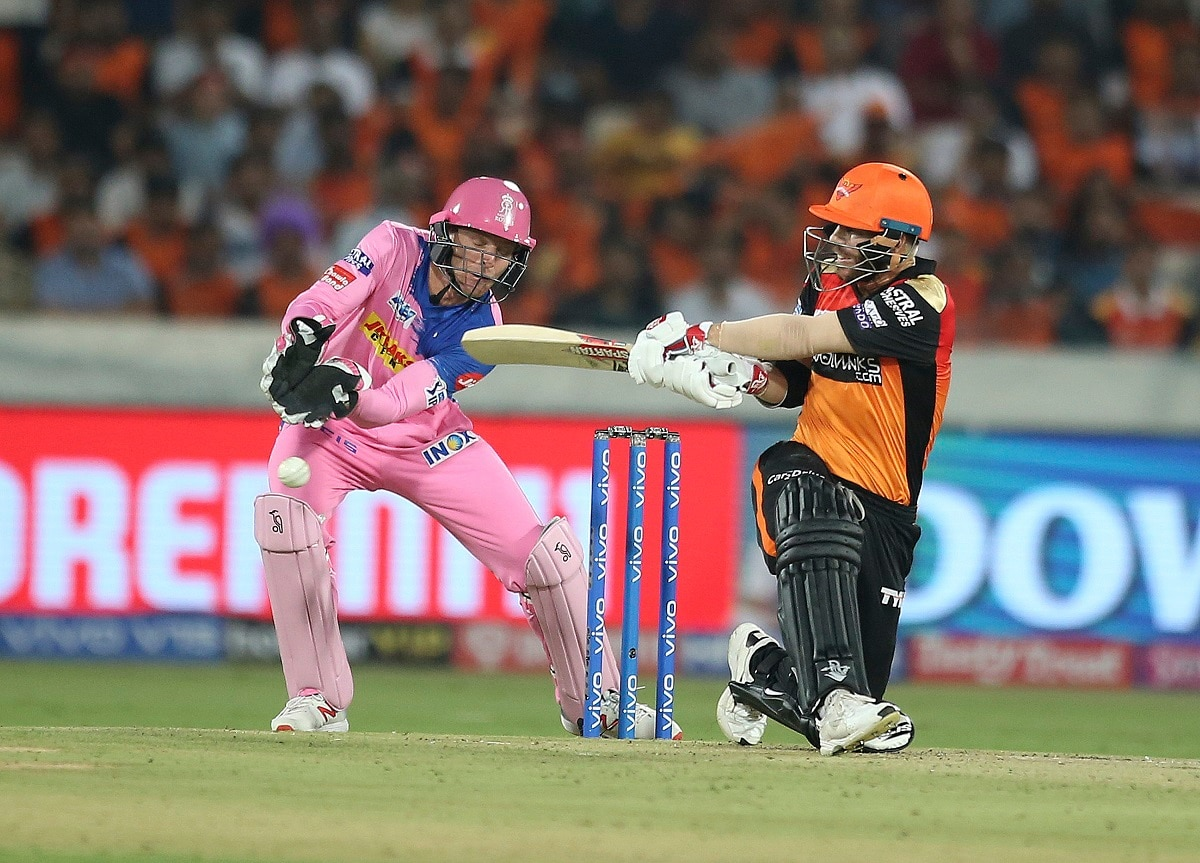 Sunrisers Hyderabad's David Warner plays a shot during the match between Sunrisers Hyderabad and Rajasthan Royals. (AP Photo/ Mahesh Kumar A.)