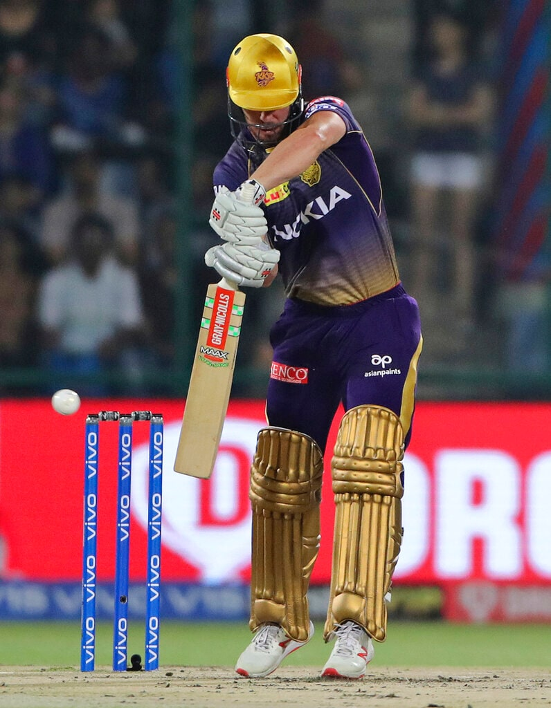 Kolkata Knight Riders Chris Lynn plays a shot during VIVO IPL T20 cricket match between Delhi Capitals and Kolkata Knight Riders in New Delhi, India, Saturday, March 30, 2019. (AP Photo/Altaf Qadri).