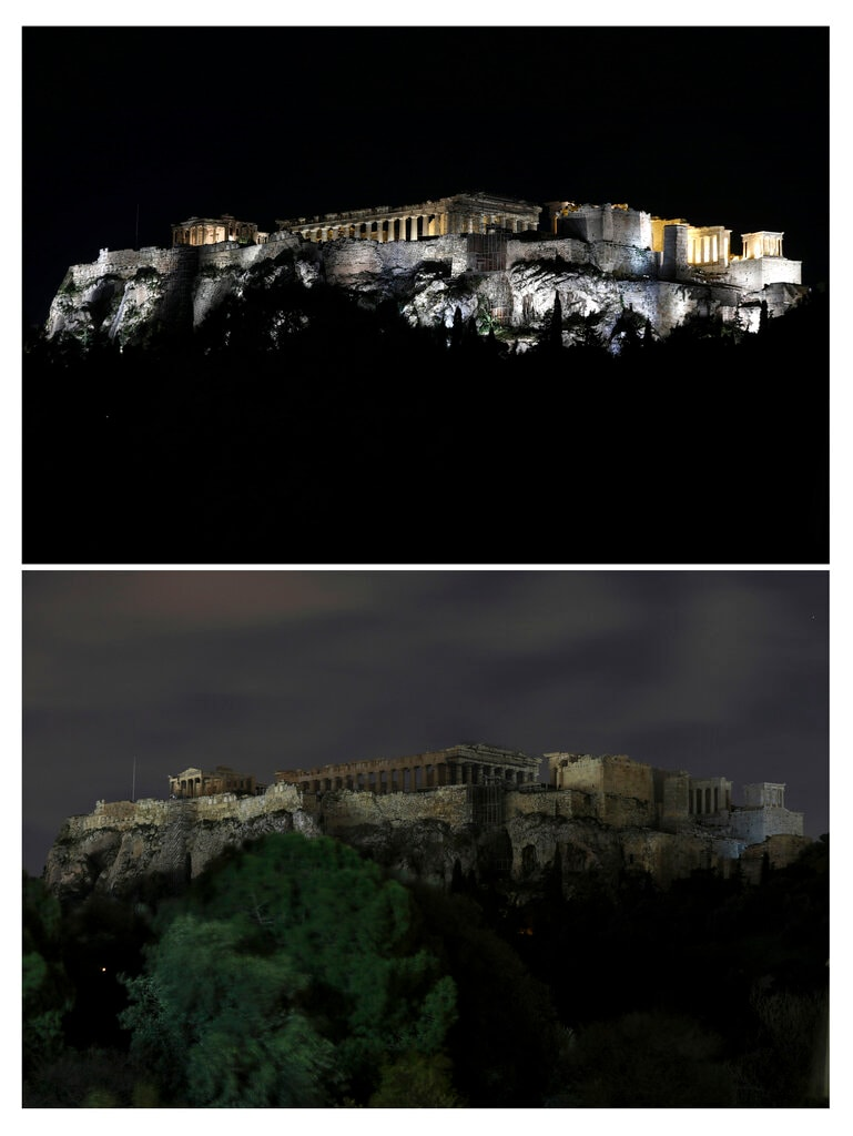 This combination of photos show the Acropolis hill before and after having its lighting switched off to mark Earth Hour in Athens, on Saturday, March 30, 2019. (AP Photo/Yorgos Karahalis).