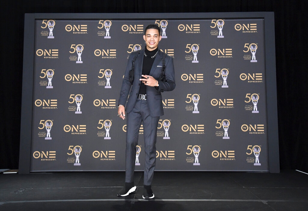 Roshon Fegan poses in the press room at the 50th annual NAACP Image Awards on Saturday, March 30, 2019, at the Dolby Theatre in Los Angeles. (Photo by Richard Shotwell/Invision/AP).