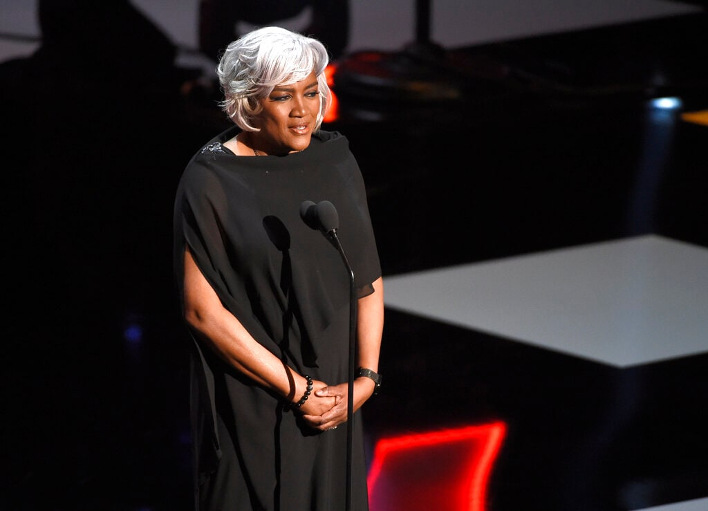 Donna Brazile presents the vanguard award at the 50th annual NAACP Image Awards on Saturday, March 30, 2019, at the Dolby Theatre in Los Angeles. (Photo by Chris Pizzello/Invision/AP)
