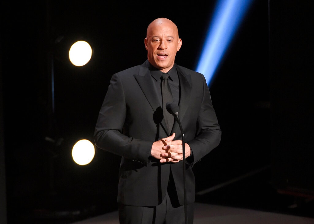 Vin Diesel presents the award for outstanding motion picture at the 50th annual NAACP Image Awards on Saturday, March 30, 2019, at the Dolby Theatre in Los Angeles. (Photo by Chris Pizzello/Invision/AP).