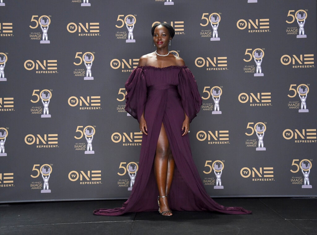 Lupita Nyong'o poses in the press room at the 50th annual NAACP Image Awards on Saturday, March 30, 2019, at the Dolby Theatre in Los Angeles. (Photo by Richard Shotwell/Invision/AP).