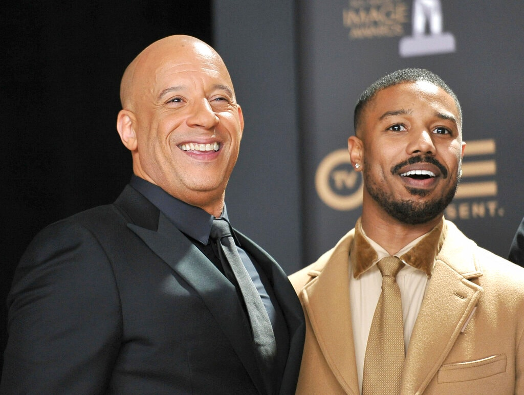 Vin Diesel, left, and Michael B. Jordan pose in the press room at the 50th annual NAACP Image Awards on Saturday, March 30, 2019, at the Dolby Theatre in Los Angeles. (Photo by Richard Shotwell/Invision/AP)