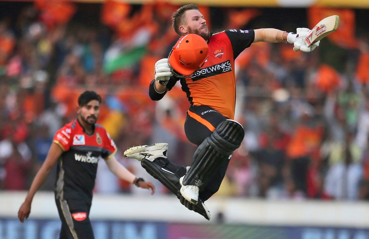 Sunrisers Hyderabad's David Warner celebrates after scoring a hundred runs against Royal Challengers Bangalore. (AP Photo/ Mahesh Kumar A.)