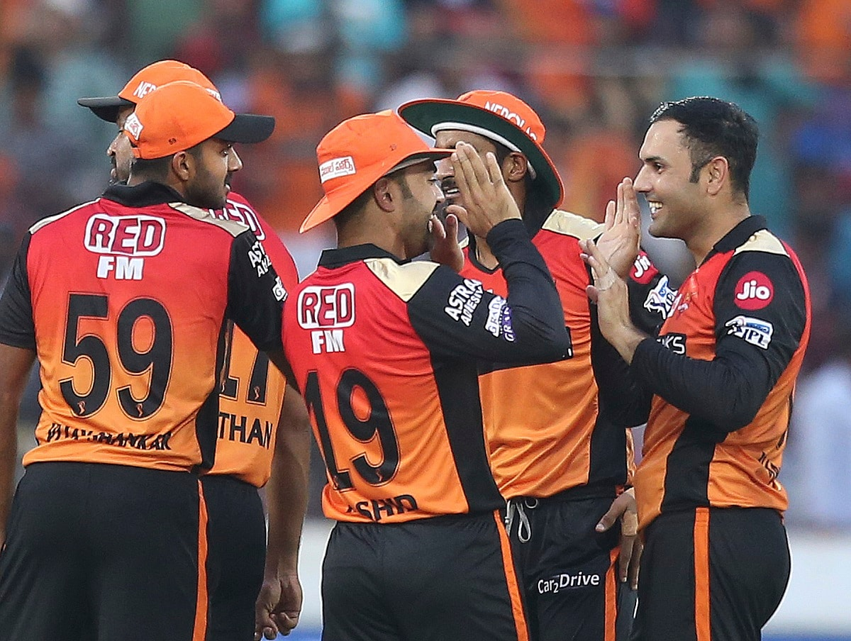 Sunrisers Hyderabad's bowler Mohammed Nabi, right, celebrates the wicket of Royal Challengers Bangalore's Shimron Hetmyer. (AP Photo/ Mahesh Kumar A.)
