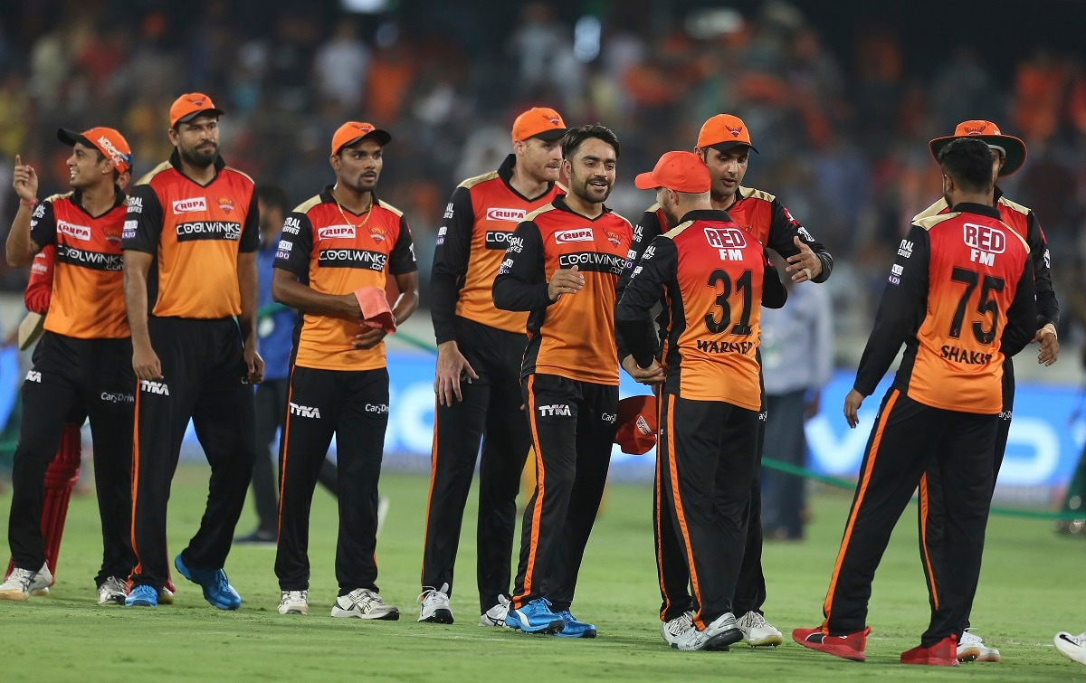 Sunrisers Hyderabad players after winning the match. (AP Photo/ Mahesh Kumar A.)