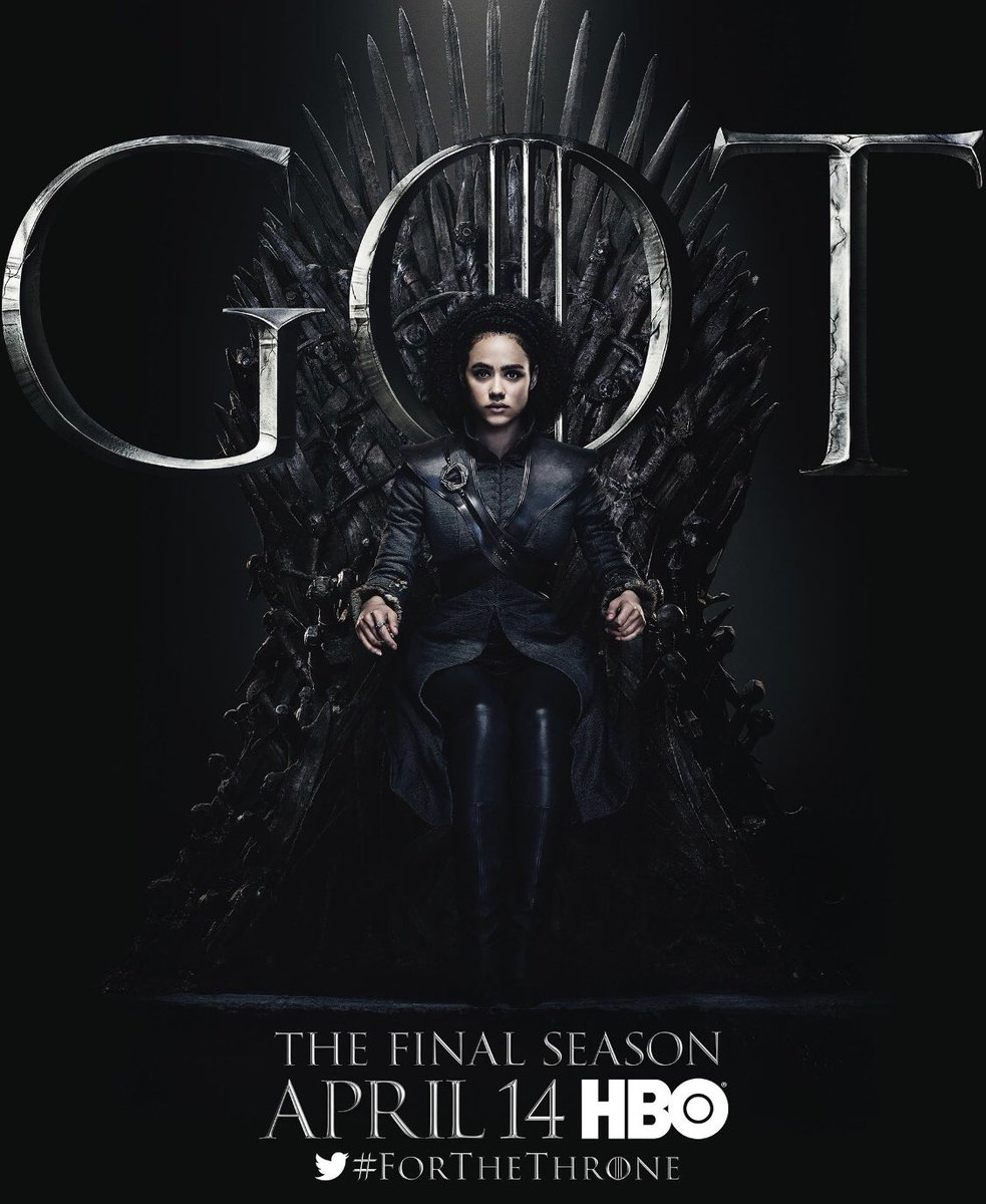 #ForTheThrone: Missandei, a.k.a. Nathalie Emmanuel in the new series of promotional posters released by HBO for Game of Thrones.