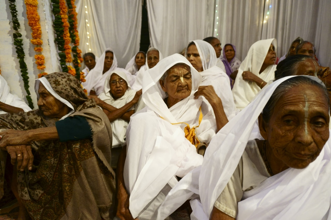 Widows assembled for prayers at an ashram in Vrindavan, Uttar Pradesh. Around 6,000 widows are residing in Vrindavan, a majority of them are from West Bengal.