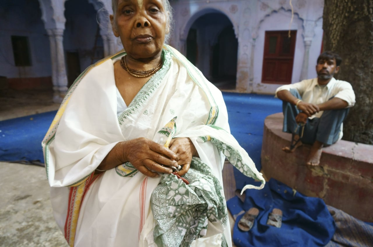 Most of the widows reside in ashrams across the Vrindavan and beg outside temples to earn a living.