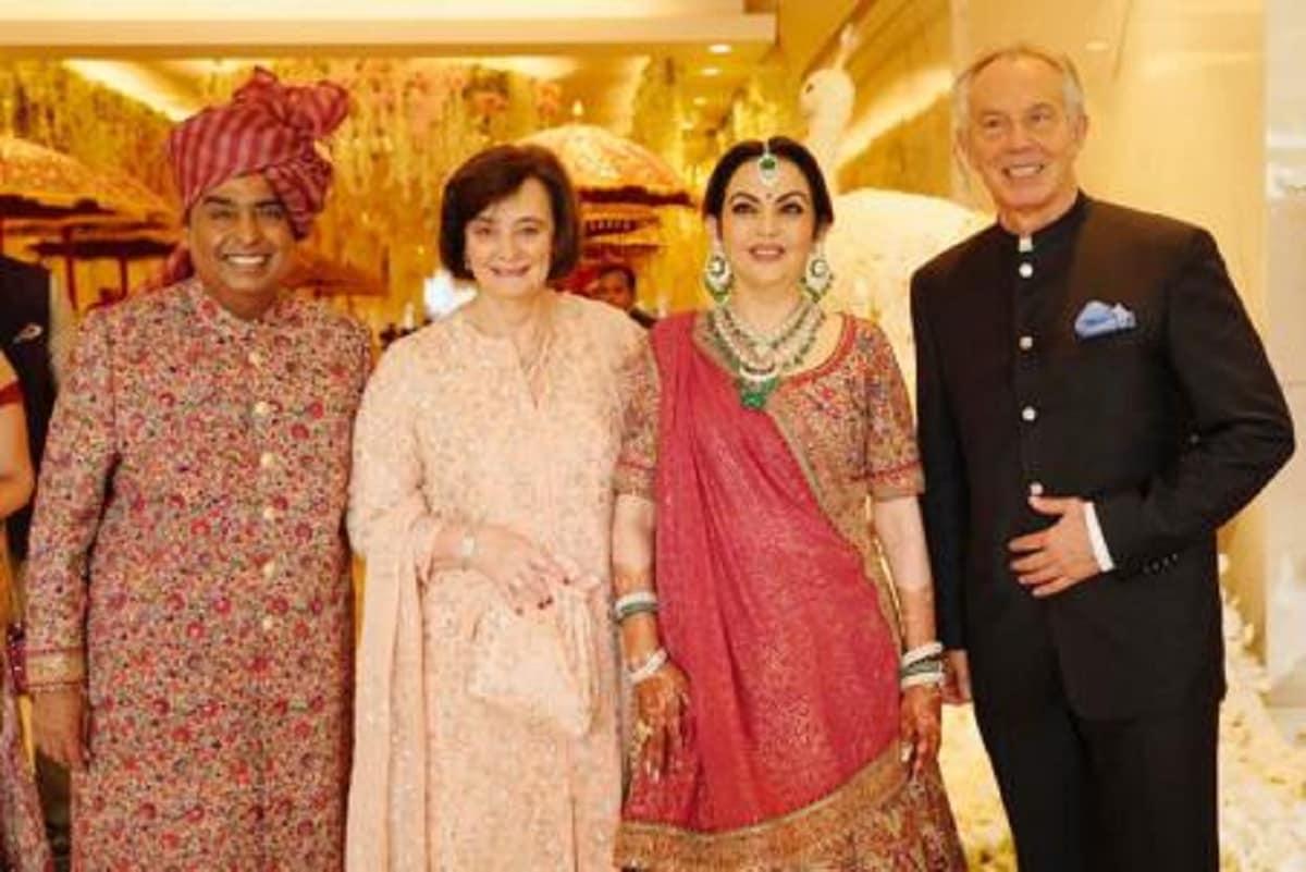 Mukesh and Nita Ambani welcome former UK Prime Minister Tony Blair and wife Cherie. (Image: News18)
